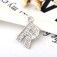 Wholesale Alphabet R Charms - High Quality Fashion Letter R Full Rhinestones Bling Slide Letter DIY Alphabet Charms Fit For Wristband Bracelet Findings Jewelry