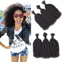 Wholesale 24 human braiding hair resale online - Mongolian Kinky Curly Human Hair Bulk For Braiding Human Hair Natural Black Bulk Braiding Human Hair G EASY