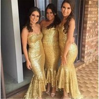 2017 Sparky Gold Sequins Bridesmaids Dresses Mermaid Plus Size Africano Maid árabe de honras Wedding Guest Evening Gowns
