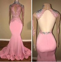 Wholesale One Shoulder Long Eveing Dresses - Real Photos Pink Long Sleeves Prom Dresses Lace Appliques Beaded High Neck Formal Party Dresses Eveing Wear 2018 New Arrival