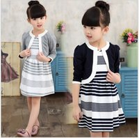 Wholesale Two Piece Coat Dress Girls - Two Pieces Sets For Girls 2017 New Spring Autumn Girl Princess Dresses Sets Kids Striped Vest Dress+Coats Cute Kids Clothing Suit Outfits