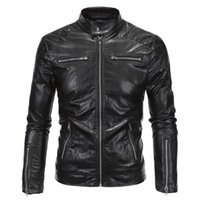 Wholesale Designer Motorcycle Jackets Men - Fashion Brand Designer Men Leather Locomotive Jacket Coat Motorcycle Stand Collar PU Jacket Male Outdoor Jacket