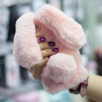 Wholesale Wholesale Iphone Bunny Case - For iPhone 6s TPU Bag Cover Cute Cases Rabbit Bunny Warm Furry Rabbit Fur Case for 6s Plus iPhone 7 7 Plus SE