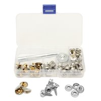 Wholesale fastener press stud - 62Pcs Stainless Steel Press Studs Screw Bases Snap Fasteners Kit for Leather