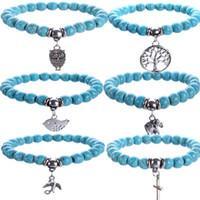 Wholesale Turquoise Stone Cross Bracelet - Turquoise Bracelets Owl tree of life Cross Pendants Bracelets Bangles Charm Natural Stone Bracelet Yoga Jewelry Men Women buddha to buddha