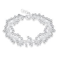 Wholesale Grape Bracelets - Fashion Jewelry 925 Silver Plated Bracelet Multi Lovely Grape Beads Charms Bracelet For Girl Lady Free Shipping