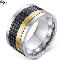 Wholesale Steel Rotating Rings -  12mm Wide Retro Style Stainless Steel Mens Ring With reek Key Pattern Black old Plated Ring Rotating Spinner Ring