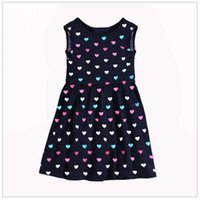 Wholesale Children Singlets - 2017 Summer Girls Dresses Sleeveless Euro Fashion Brand New Heart Shape Cotton Children Dress Baby Girl Clothes Outfits Singlet
