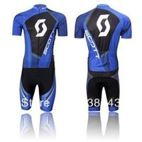 Wholesale 4xl Professional Team Cycling Clothing - 2015 Professional Cycling Jersey short sleeve bib pants pants Quick Dry Breathable GEL PAD SCOT team Blue F-69 Cycling Clothing Size XS-4XL