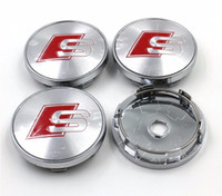 tapa del cubo de la rueda audi al por mayor-Car styling, 4 piezas 60mm RS logo Car Wheel Hub Cap Center Caps Emblema Insignia para AUDI A3 A4 A5 A6 A7 A8 S3 S4 S5 S6 S7