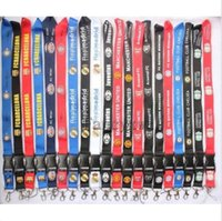 Wholesale Key Chain Football - Wholesale 20pcs Football Teams Lanyard Key Chain ID Holder FAST SHIPPING