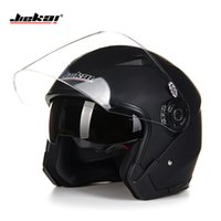 Wholesale Vintage Racing Motorcycle - Wholesale- Helmet motorcycle open face capacete para motocicleta cascos para moto racing Jiekai motorcycle vintage helmets with dual lens