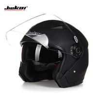 Wholesale Helmets Jiekai - Wholesale- Helmet motorcycle open face capacete para motocicleta cascos para moto racing Jiekai motorcycle vintage helmets with dual lens