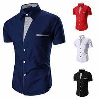Wholesale Camisas Moda - Wholesale- Mens Casual Shirts 2016 Moda Marca Mens Striped camisas gola Masculino Camisa Masculina Casual Magro Chemise Homme M-XXL 15C10