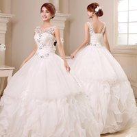 Wholesale Korean Fashion Wedding Gowns - Bride section Korean version of the retro elf Slim white large size wedding dress lace fashion wedding, fashion sexy skirt