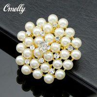 perla de diamantes de imitación broche al por mayor-Vintage Silver Tone Rhinestone Cristal Diamante y Faux Pearl Cluster Boda Nupcial Ramo Pin Broche Joyería