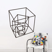 Wholesale Cube Art - 2016 Rushed Estrella Cube Wallpaper Geometrical Pattern Series Products Home Decor Wall Art Stickers Simple Fashion Decoration free Shipping