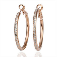 Wholesale Rose Gold Crystal Hoop Earrings - 18K Rose Gold Silver Plated White Crystal Hoop Earrings for Women made With Swarovski Elements Dangle Circle Earrings Fashion Jewel