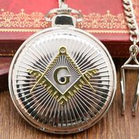 Wholesale Wholesale Masonic Watches - Wholesale-Golden Silver Pocket Watch Freemason Necklace Pendant Wathes Masonic Male Gift 2016