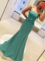 Wholesale Trumpet Bowknot - Applique Lace Mermaid Strapless Sweep Train Blue Prom Dress with Lace Top Bowknot Evening Dresses vestidos longos para formatura