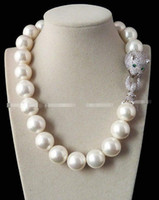 Wholesale Huge mm Genuine White South Sea Shell Pearl Necklace AAA Crystal Clasp