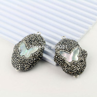 Wholesale Shaped Rhinestone Connector - New 5Pcs Pave Crystal Rhinestone Druzy Stone Connector Bead, Palm Shape Beads, with Shell Gem stone Jewelry