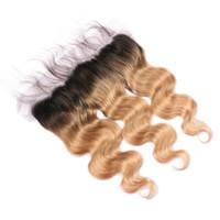27 cheveux bruns bruns achat en gros de-# 1B / 27 Miel Blonde Ombre Brésilienne de Cheveux Humains Pleine Dentelle 13x4 Oreille à L'oreille Frontale Vague de Corps de Marron Ombre Dentelle Frontale Fermeture