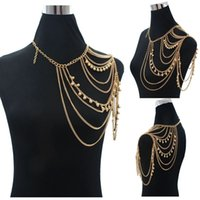 Wholesale Long Punk Rings - Bohemian Style Punk Body Chain Necklaces Alloy Collar ShouldeChain Long Necklaces & Pendants Women Sexy Statement Body Jewelry