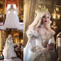 vestidos de novia celta al por mayor-Vestido de novia celta medieval vintage 2020 fuera del hombro apliques de hadas gótico vestido de novia nupcial princesa