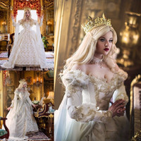 Wholesale Medieval White Wedding Dress - Vintage Medieval Celtic Wedding Dress 2017 Custom Made Off The Shoulder Castle Church Gold Applique New Empire Fairy Bridal Gowns Hot Sale