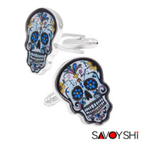 Wholesale Skull Cuff Links - Novelty Colorful Skull Cufflinks for Mens Shirts Cuff Accessories High Quality Painted Cufflinks Enamel Jewelry