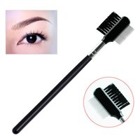 Wholesale Black Beauty Supplies - Wholesale- Close-packed Steel Needle Eyebrow Brush Eyebrow Comb Eyelash Extension Beauty Supplies Brow Brush Lash Comb Makeup Tool
