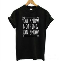 Wholesale Snow White Shirts - Wholesale-Summer Style Black White T-Shirt You Know Nothing Jon Snow Top Tees Games of Thrones TShirts