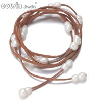 Wholesale Rope Anklets - XL0073b New Arrivals Multifunctional DIY Long Changeable Freshwater Pearl Necklace$Bracelet&Anklet Brown Genuine Leather Bracelet For Women
