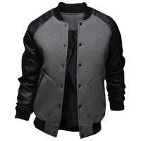 Wholesale Leather Jacket Men Wholesale - Wholesale- New Gray Baseball Jacket Men 2015 Fashion Design Black Pu Leather Sleeve Mens Slim Fit College Varsity Jacket Brand Veste Homme