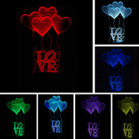 Wholesale romantic love light - New 3D Visual Bulb Optical Illusion Colorful Mood LED Table Lamp Touch Romantic Holiday Night Light Creative Love Heart Wedding Party Gifts