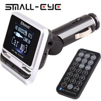 transmisor más pequeño al por mayor-Al por mayor-SMALL-EYE Pantalla LCD Bluetooth Car Kit FM12B Manos libres Reproductor de MP3 FM Transmisor USB Cargador Soporte TF Tarjeta de línea en AUX 8121