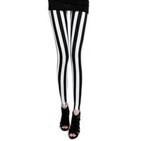 Wholesale Hosiery Pants - Wholesale- L64 Celebrity Style Women's Zebra Black White Vertical Striped Leggings Ladies Hosiery Pant Plus Size S M L XL New Free Shipping