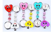 Wholesale Nurse Smiling Face Pocket Watch - Heart Shape Cartoon Smile Face Nurse Watch Clip On Fob Brooch Hanging Pocket Watch Doctor Fob Quartz Watch Kids Gift Watches