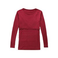 Wholesale Maternity Tops For Winter - breastfeeding undershirt Long Sleeve Maternity Nursing Tops Pregnancy Breastfeeding Tees Shirt Clothes For Pregnant Women Wear Feedding