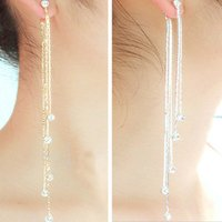 Wholesale New Fashion Chain Gold Silver Long Tassel Earrings For Women Crystal Statement Earrings Charm Jewelry ER801