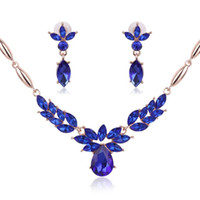 Wholesale Sapphire Leaf Necklace - Crystal Flower necklace Earrings Luxury Gold Leaf Water Drop Sapphire Pedant Necklace Jewelry Set Women Bride Wedding Jewelry