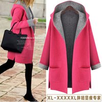 Wholesale Europe Trench - Candy-colored women's trench coat 2016 autumn and winter new plus size 5XL loose thin cardigan coat Europe fat mm woolen coat jacketfa
