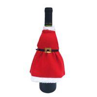 ingrosso prodotti domestici all'ingrosso-Wholesale- Red Wine Grembiule Cover Borse Borse Decorazione della tavola di Natale XMAS Home Party Decor Prodotto EJ873019
