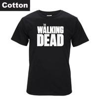 Wholesale Shorts Casual Walk Men S - Top Quality COTTON t-shirt short sleeve Tshirt print casual tee shirt men twd the walking dead print T shirt T01