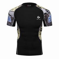 thermische t-shirts großhandel-Herren Kompression T Shirts Haut Enge Thermische Kurzarm Rashguard MMA Crossfit Übung Workout Fitness Sportswear T-SHIRTS