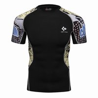Wholesale Tight Sleeve Mens T Shirts - Mens Compression T Shirts Skin Tight Thermal Short Sleeve Rashguard MMA Crossfit Exercise Workout Fitness Sportswear TEES