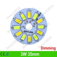 Wholesale Downlight Base - Wholesale- 20PCS 3W 35mm led bulb dimming PCB board, Mix color aluminum plate base, Switch dimming board for downlight, ceiling