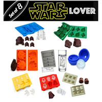 Wholesale Cake Mold Star Wars - 8pcs Star Wars Whole Set Ice Mould Silicone Chocolate Molds ice cube mold delicate household bakeware cake moulds baking tools