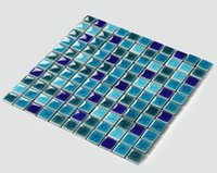 Modern square parquet flooring - Glossy mosaic flooring tiles popular ice crack ceramic swimming pool tiles Bathroom Kitchen wall tiles three mixed colors optional LSBL2504